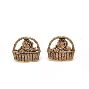 Vintage Cat Kitten In A Basket Golden Earrings